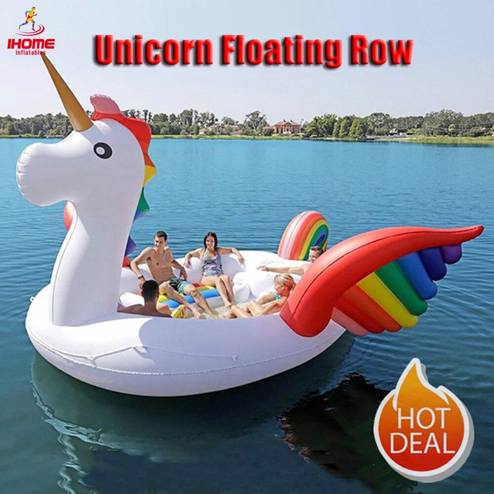 Flamingo float Float gigante gigante Inflável Unicorn animal do ar Ilha para 6-8person