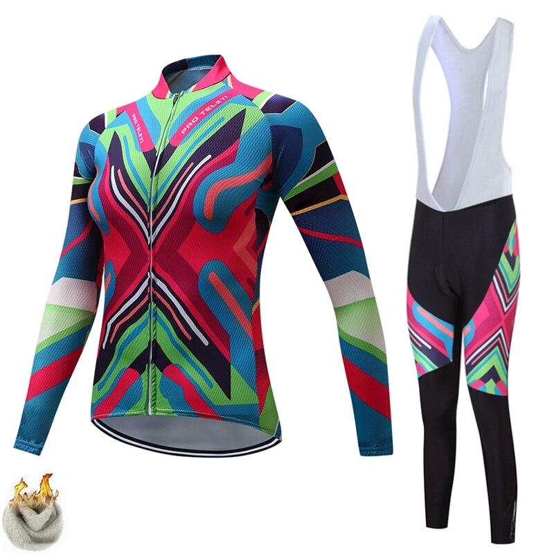 TELEYI Thermal Fleece Winter Cycling <font><b>Jersey</b></font> <font><b>Women</b></font> Long Suit Maillot Cycling Set Bike Clothing Ropa Ciclismo Silicon Gel Pad