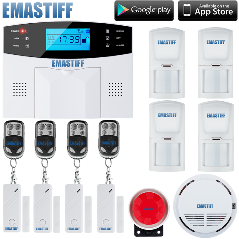 GSM SMS Home Burglar Security Alarm System Detector Sensor Kit Remote Control Spainish, Italian, Russian, French,Czech Voice gsm sms home burglar security gsm alarm system detector sensor kit remote control