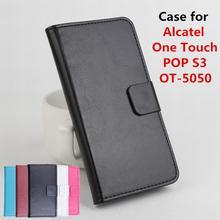 100% кожаный чехол для Alcatel One Touch POP S3 OT-5050 флип чехол с карты памяти OneTouch POP S3 кожа крышка телефон случаях