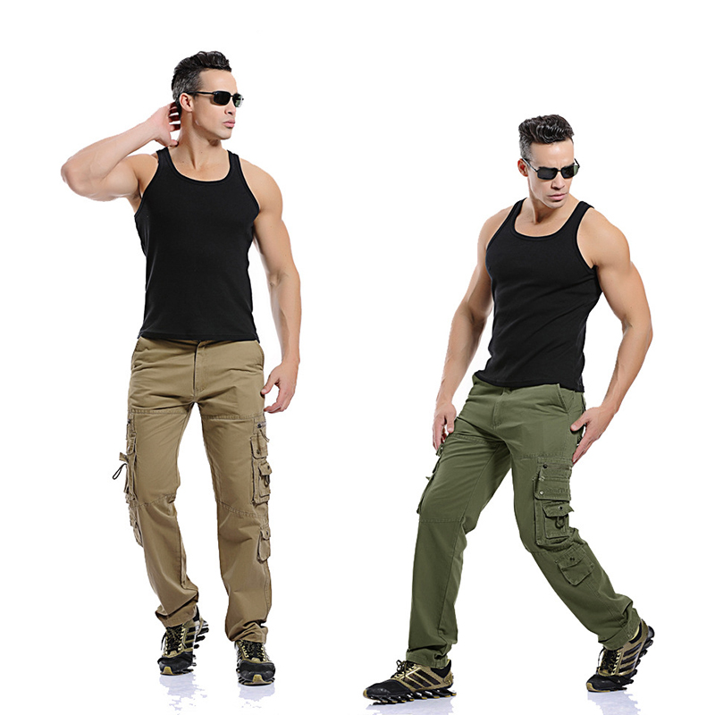 Chinos Trousers Pants Men Slim-Fit Classic Straight-Pants Business Leisure Casual Button