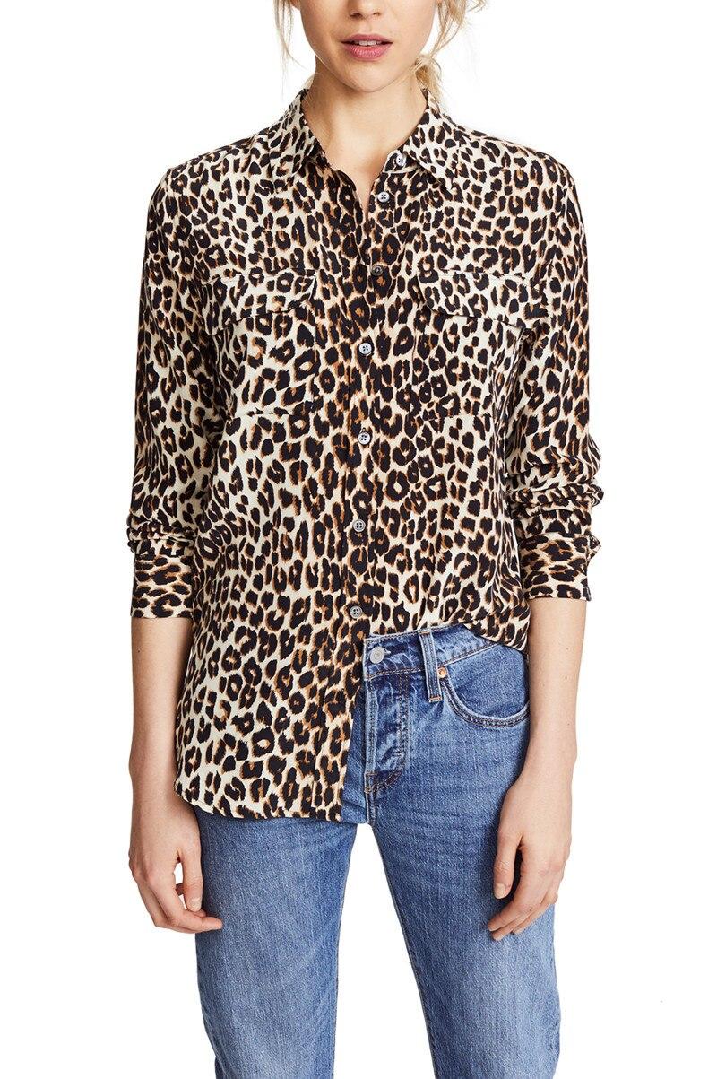 100% natural silk blouse animal print leopard shirt chiffon blusas women sexy v neck lady high quality runway blouse 2019 - 2