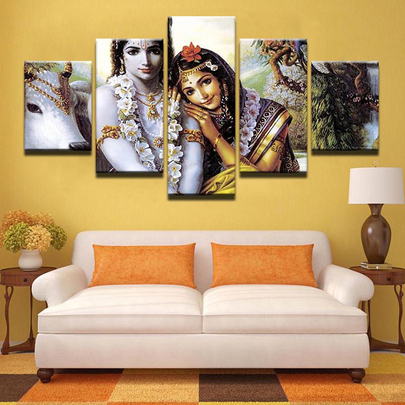 Large Poster HD Printed Painting Canvas Print 5 Panel Radha Krishna ...
