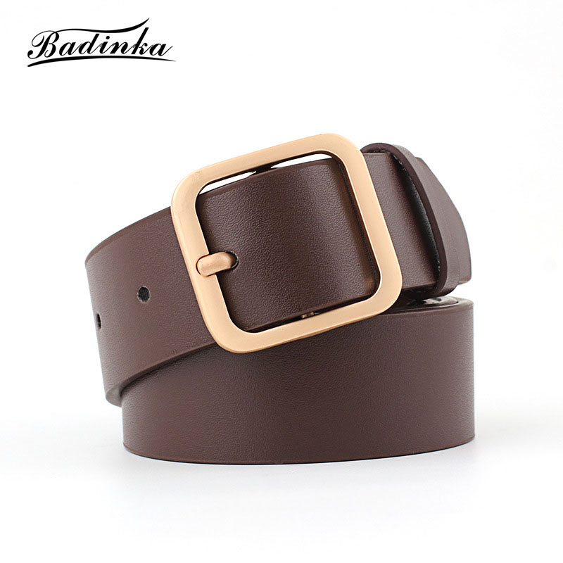 Badinka 2018 New Designer Ladies Wide Black White Genuine Leather Waist Belt Womens Gold Silver Buckle Belts for Women Jeans