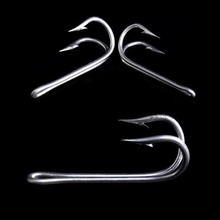 10pcs 20# Stainless Steel Fishing Double Hook Double Hooks Frog Hook