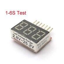 1-6s RC 1S-6S LED alarma de vibración de bajo voltaje Lipo batería verificador indicador de voltaje prueba 2,8 V-25,2 V