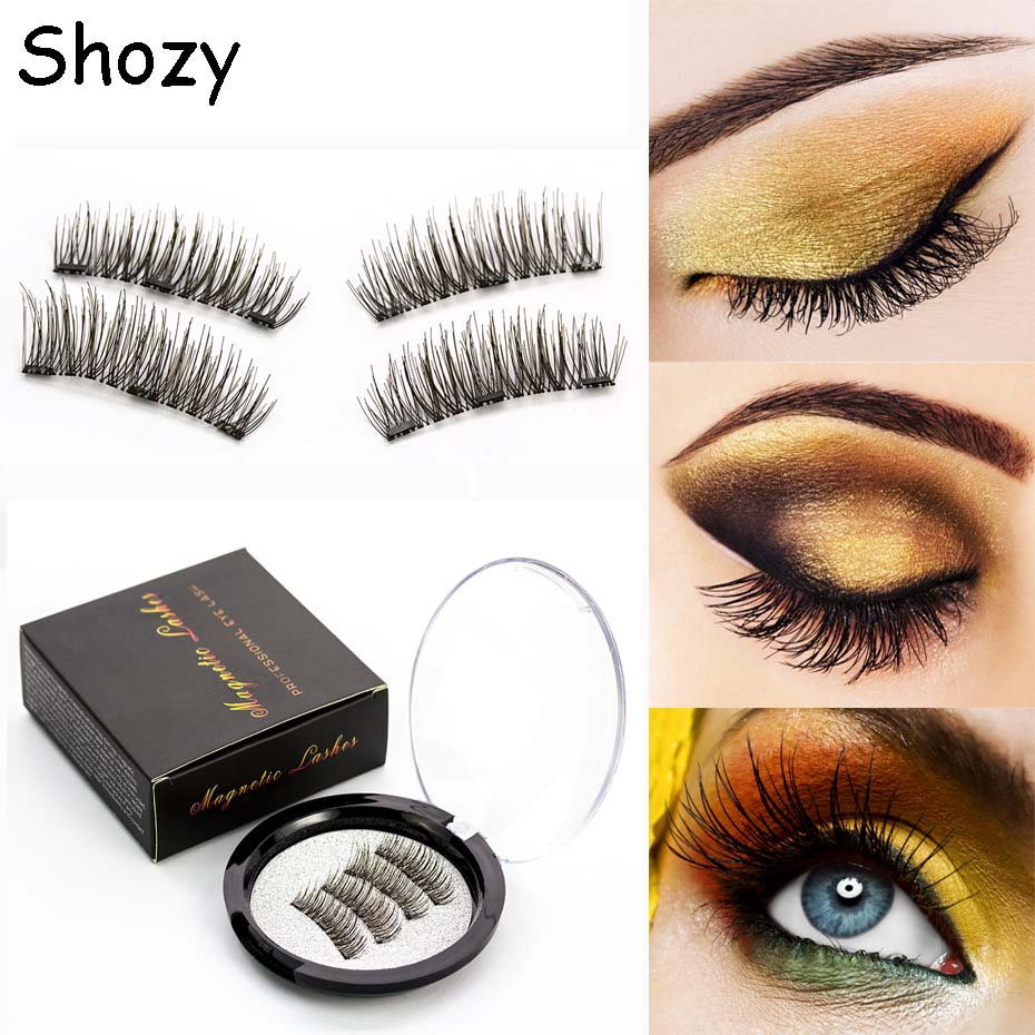Shozy Magnetic eyelashes with 3 magnets handmade 3D magnetic lashes natural false eyelashes magnet lashes with gift box-24P-3(China)