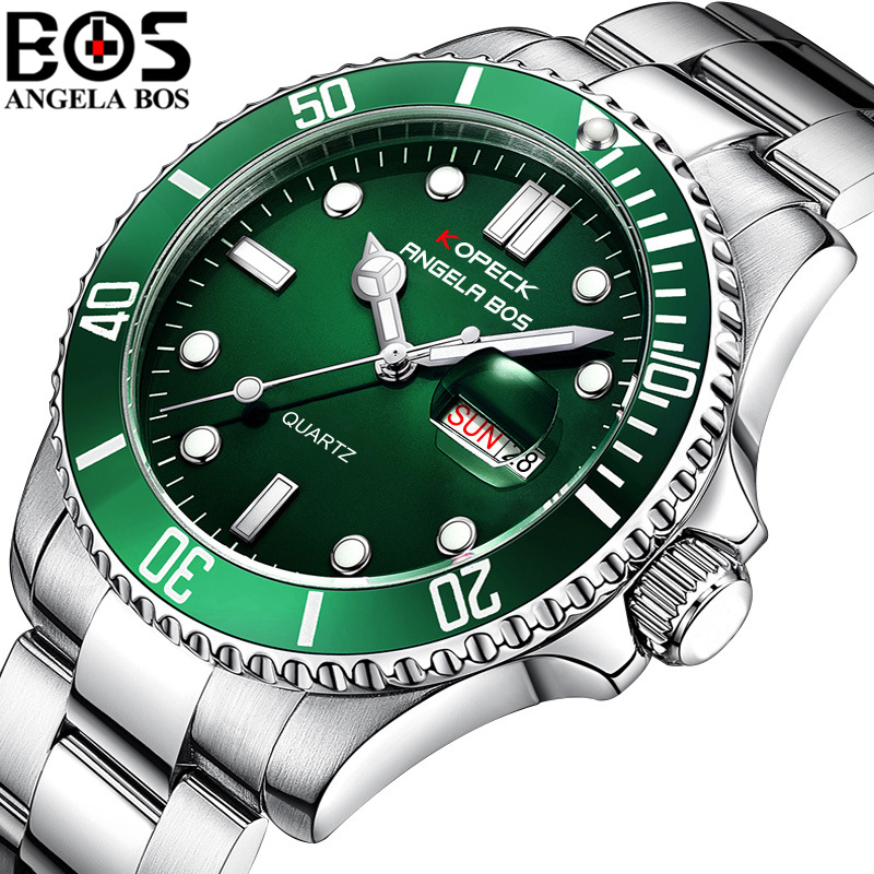 Relogio Masculino ANGELA BOS Luxury Brand Military Quartz Wrist Watch Mens Waterproof Stainless Steel Army Watch