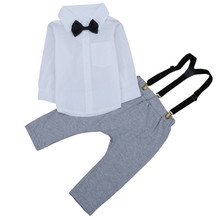 New Arrive Baby Boys White Long Sleeve Bowknot Shirts Tops Overalls Pants 2Pcs Toddler Infant Kids Clothing Sets Fit 6-24M