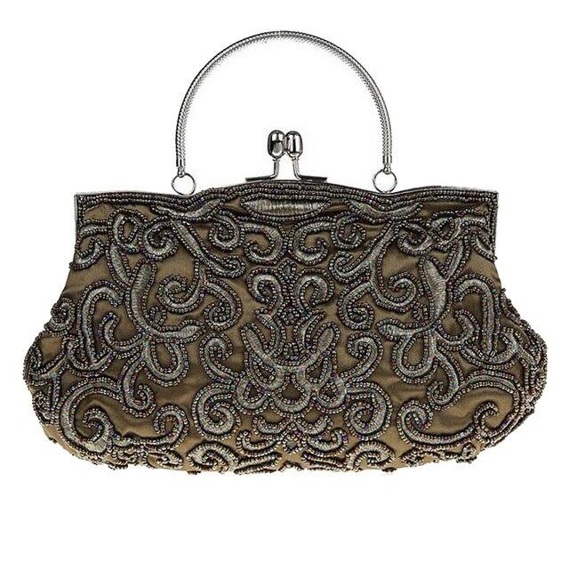 37eaa6293 Mulheres do vintage Sacos de Embreagem de Contas vestido de Noite  Requintado Frisado Bolsa Feminina Bordado