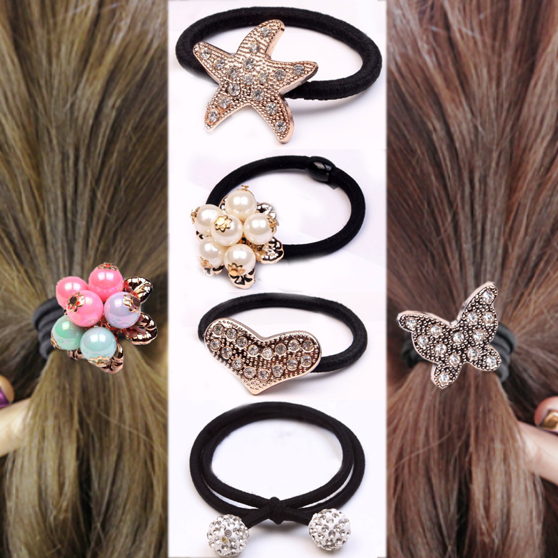 Hot 2018 new South Korea 1PC 2PC crystal elastic starfish ball butterfly flower pearl hair rope girl gift accessories boutique in Women 39 s Hair Accessories from Apparel Accessories