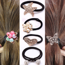 Hot 2018 new South Korea 1PC/2PC crystal elastic starfish ball butterfly flower pearl hair rope girl gift accessories boutique