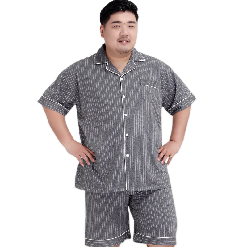 Plus Size Sexy Striated Shorts Sleepwear Men 140KG 5XL 100% Cotton Pajama Sets Men Simple Short Sleeves Casual Pyjamas For Male