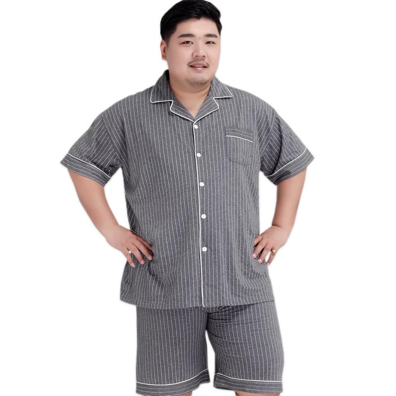 Plus Size Sexy Striated Shorts Sleepwear Men 140KG 5XL 100% Cotton Pajama Sets Men Simple Short Sleeves Casual Pyjamas For Male