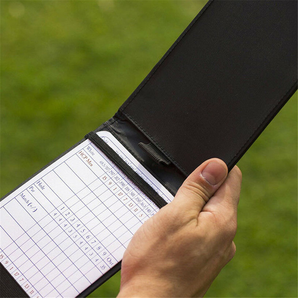 Golf Scorecard Holder Book Holders PU Leather For Score Black With Pencil Loop