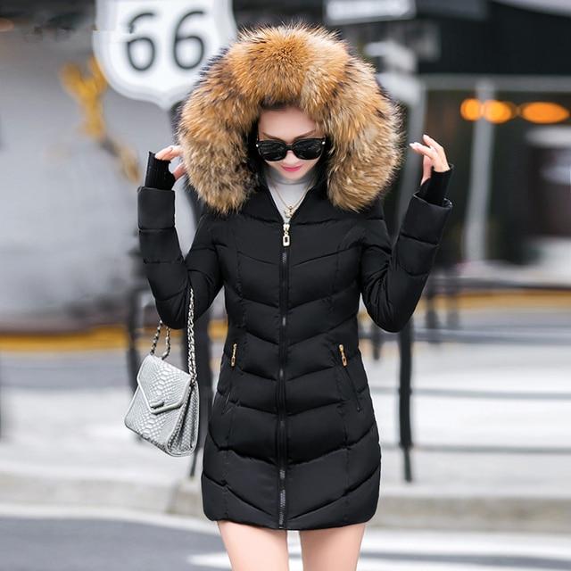 d82d2907ae9 2018 Warm Fur Collar Parkas Women Winter Coats Medium-long Hooded Down  Cotton Female Padded Jacket Slim Outwear Free Shipping
