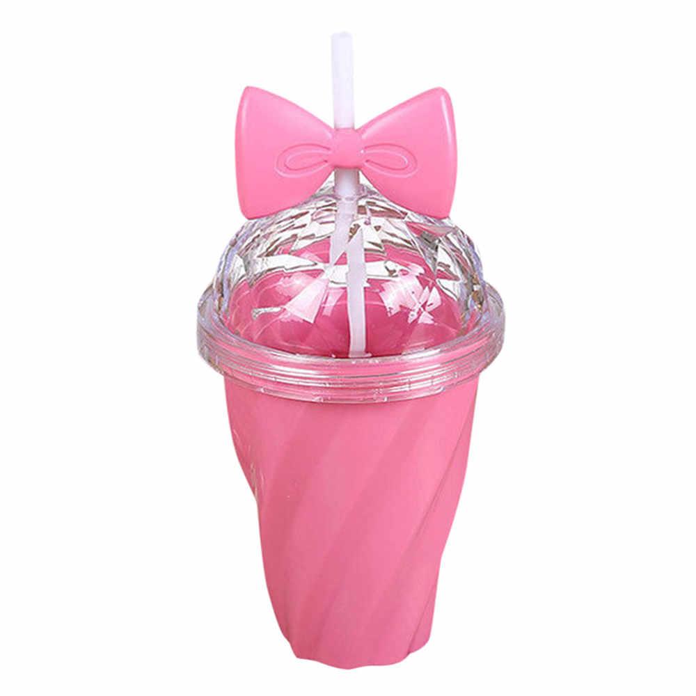 400 мл бутылка особенного дизайна прекрасная кружка с ремнем холодный напиток чашка пластик с крышкой банта бутылка для воды с крышкой с соломинкой Apr 15