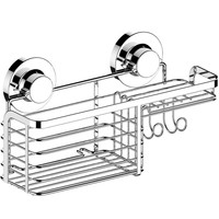 Shower Basket Caddy with Suction Cup Holder Bathroom Tray Hanger for Soap Bars, Sponges, Shampoo, Loofah Stainless Steel, Ch
