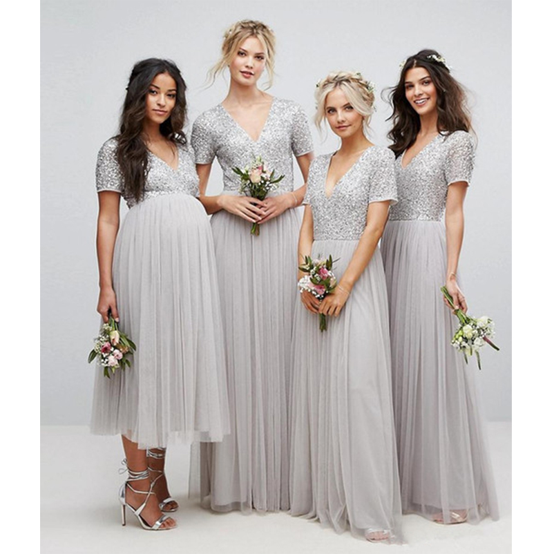 Sequins Top   Bridesmaid     Dresses   2018 Sliver Short Sleeve V Neck Pleated Tulle A-Line Maid Of Honor Pregnant   Dress   Floor Length