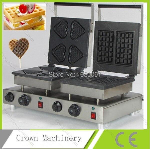 Podwójne szefowie Prostokąt & serce waffle maker; Toster Wafel; Waffeleisen; waffle baker żelazo maszyna