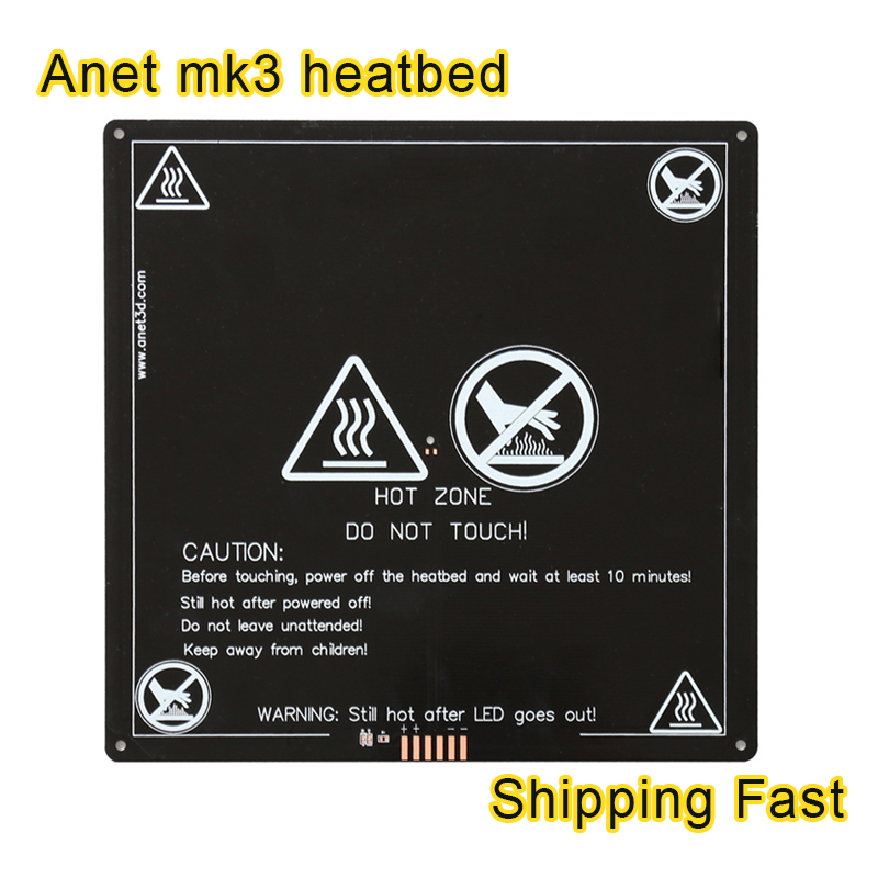Anet heated bed 220*220*3mm MK3 Aluminum plate hotbed wire MK2B Upgraded hot bed MK2A for Mendel RepRap 3d printer parts anet a6 a8 mk3 12v heatbed aluminum heated bed 220mm 220mm 3mm mk2b & mk2a for mendel reprap i3 3d printer hotbed with cable