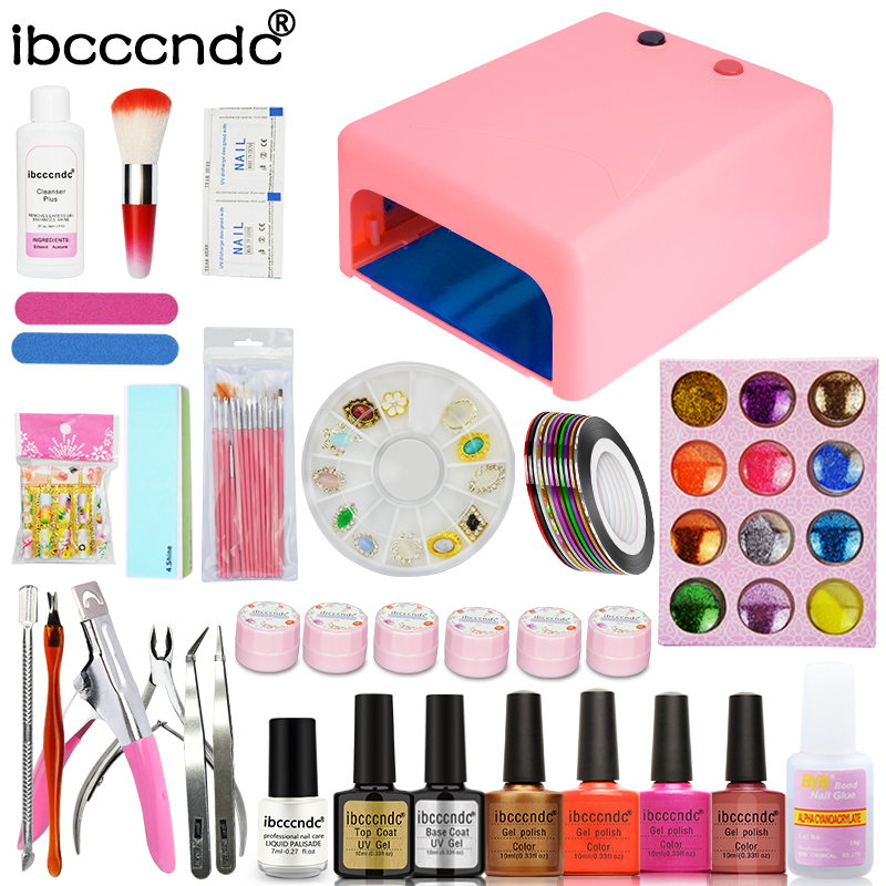 Nail Art Set Kit 36W UV Lamp + 4 Color 10ml Gel Polish Base and Top Flower Gel Peel Off Liquid with Nail Brushes Set Manicure