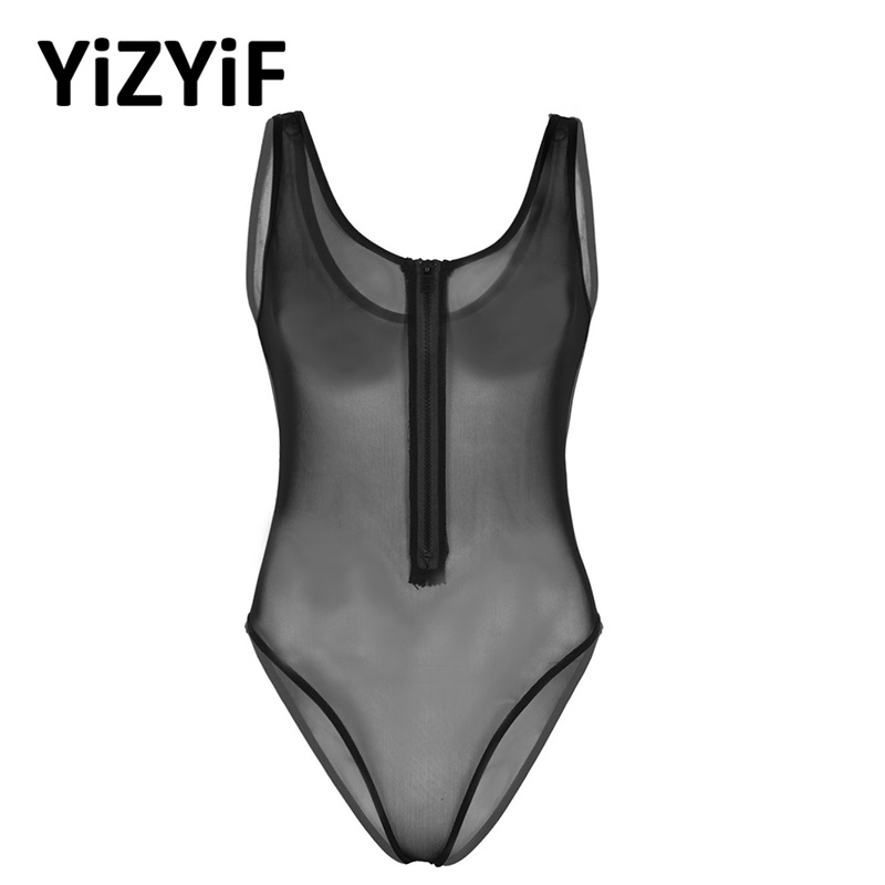 Women One piece Swimsuit 2019 See Through Sheer Mesh Lingerie Deep U-neck Sleeveless Front Zippered High Cut Teddy Babydoll Body