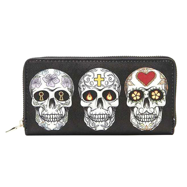 Skull Wallet Zipper Design Clutch Purse. PU Leather.  Phone Holder. Card Holder