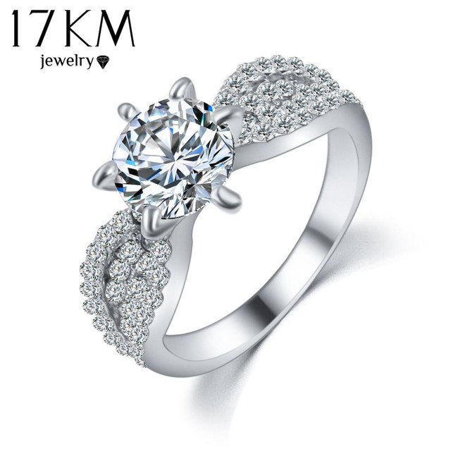 17KM Fashion Crystal Rings Rose Gold Color Big Cubic Zircon Wedding Ring For Women Fashion Jewellery Ring Full Size Anillos
