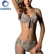 2016 New Style Snake Skin Pattern Bikini Set Push Up Swimwear Conservative Swimsuit Mid Waist Super