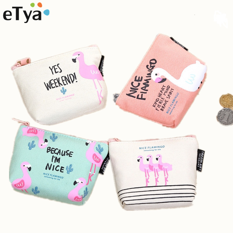 eTya Animal Cartoon Cute Coin Purse Wallet Holder Case Women Small Canvas Bags Cartoon Money Key Card Holders Pouch Zipper Bag