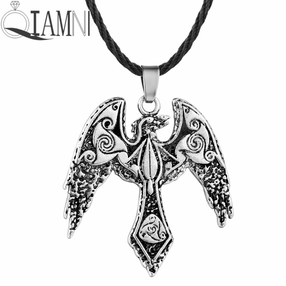 QIAMNI Punk Bird Triskele Raven Triskelion Symbol Pendant Necklace Birthday Gift Men Amulet Nordic Viking Jewelry Charm