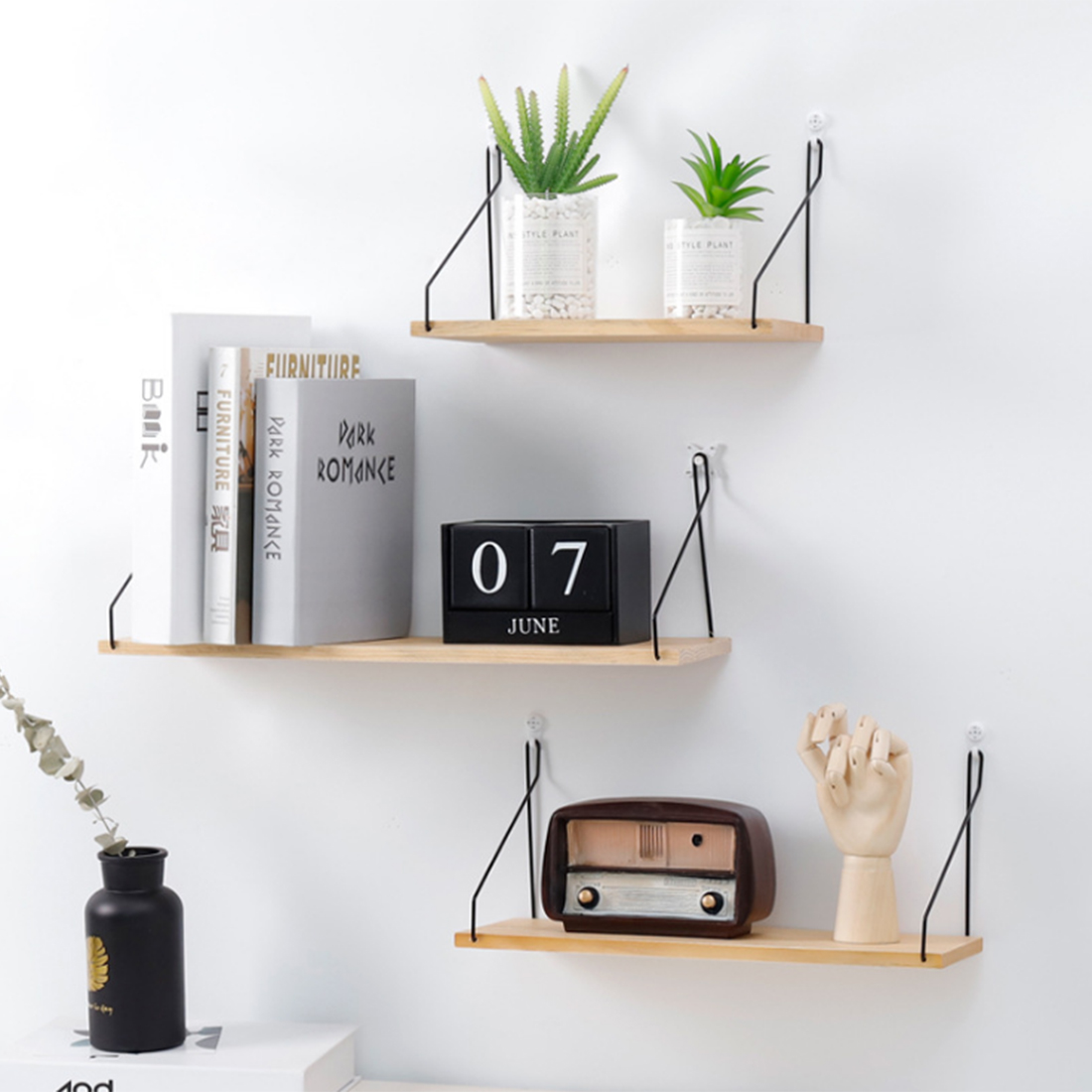 HIPSTEEN Wooden Iron Wall Shelf Wall Mounted Storage Rack Organization For  Bedroom Kitchen Home Decor DIY Wall Decoration Holder