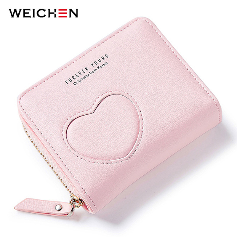 2018New Designer Heart Cute Pink Small Wallet for Women Lady Mini Clutch Coin Purse Card Holder Pocket Girl Short Wallets Zipper