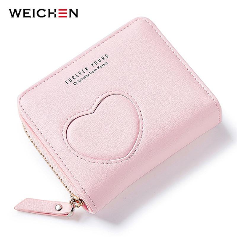 2018New Designer Heart Cute Pink Small Wallet for Women Lady Mini Clutch Coin Purse Card Holder Pocket Girl Short Wallets Zipper