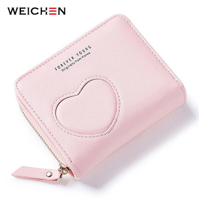 2018new designer heart cute pink small wallet for women lady mini clutch coin purse card holder - Pink Card Holder