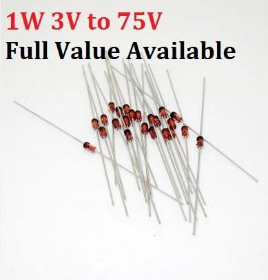 50PCS 1W Zener Diode 1N/IN4727A 3V/ IN4728A 3.3V/ IN4729A/3.6V  IN4730A/3.9V IN4731A/4.3V IN4732A/4.7V IN4733A/5.1V IN4734A/5.6V
