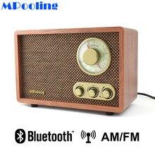 MPooling Mesa madera AM/FM Radio Vintage Retro clásico Bluetooth Radio agudos y bajo Control incorporado altavoz AC110 ~ 130/220 ~ 240V