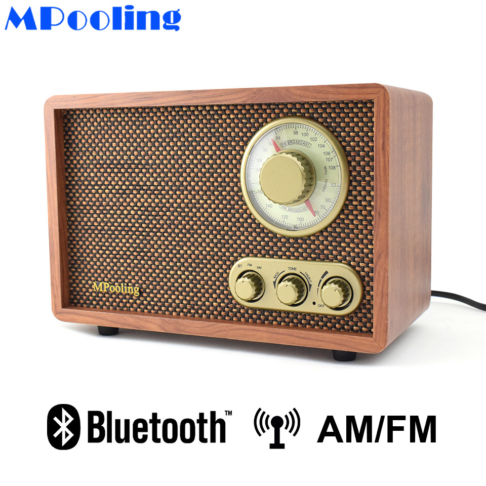 MPooling Tabletop Wood AM/FM <font><b>Radio</b></font> Vintage Retro Classic Bluetooth <font><b>Radio</b></font> Treble&Bass Control <font><b>Built</b></font>-<font><b>in</b></font> Speaker AC110~130/220~240V image
