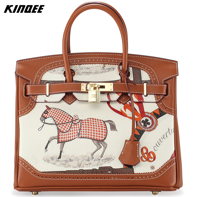 Luxury Designer Painting Handbag Women Shoulder Bag Genuine Leather Cow Leather Tote Lady Classic Fashion 30CM High Quality safebet 2018 fashion shoulder bag high quality designer luxury women 100% genuine leather genuine leather waterproof handbag