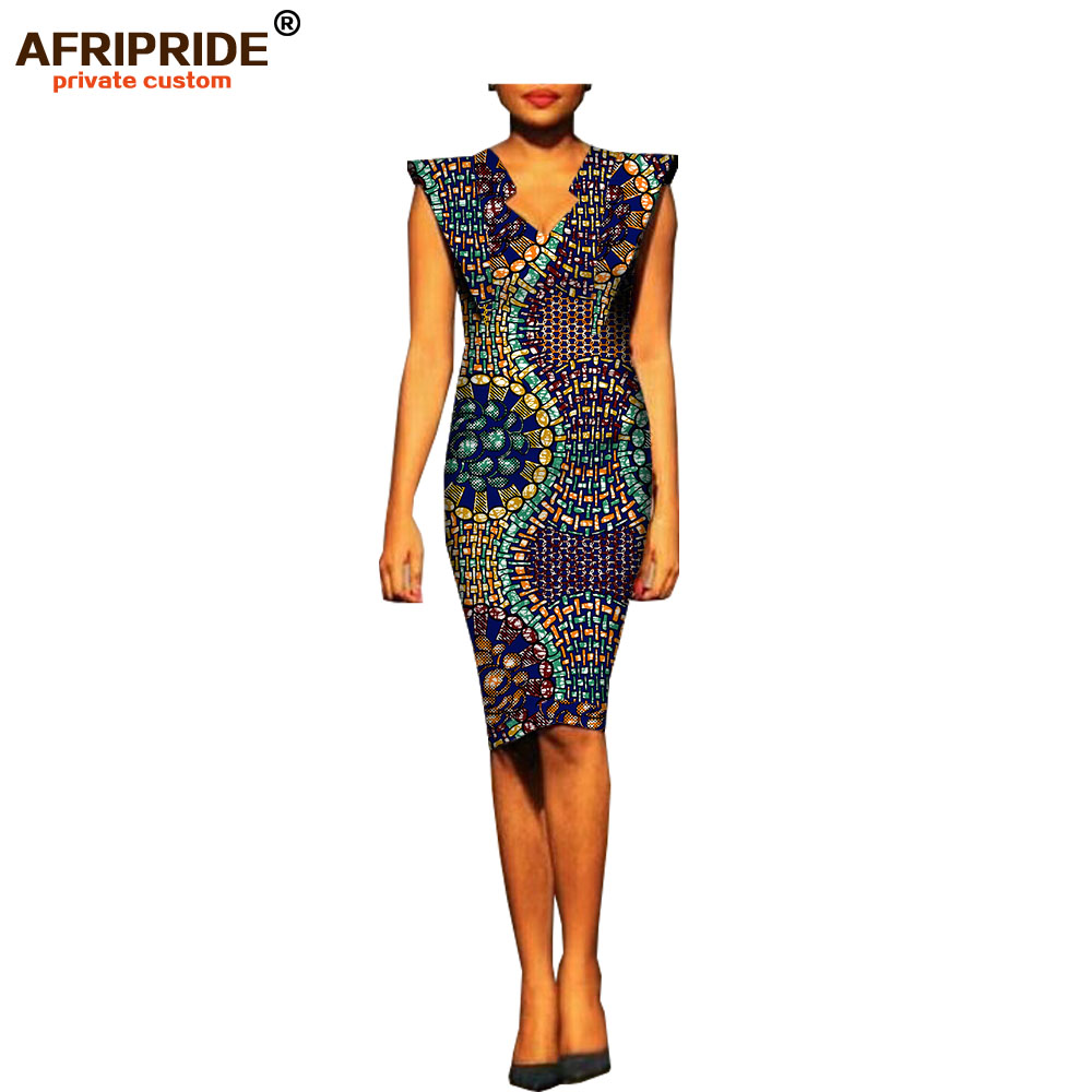 2019 african summer women dress AFRIPRIDE fashion short batwing sleeve V neck knee length casual cotton
