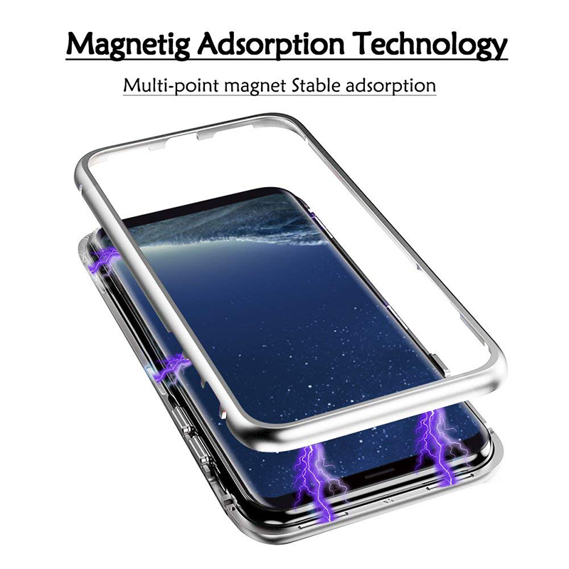 Suntaiho for Samsung S9 plus Magnetic Adsorption Flip Case for Galaxy S8 Note9 8 S7 S7 Edge Tempered Glass Back Cover Metal case