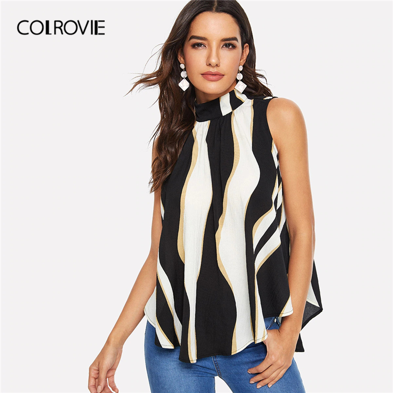 COLROVIE Stand Collar Colorblock Asymmetrical Hem Elegant   Blouse     Shirt   2019 Summer Sleeveless Knot Back Office Lady Pleated Tops