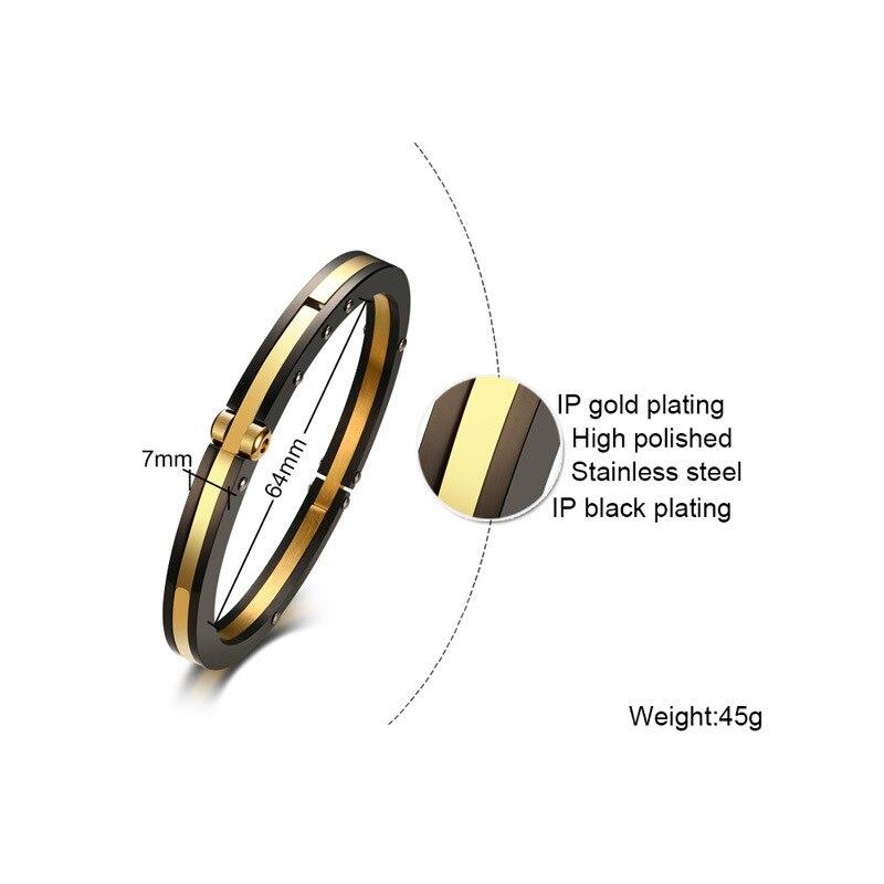 Хорошее качество 7 мм из нержавеющей стали мужские браслеты IP золото черное покрытие браслет полированный модный браслет