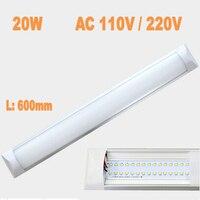 Nueva Lámpara de Techo LED tubo 600mm 20 W AC110V/220 V smd 2835 epistar aluminio caja de la pc anti-polvo Super Slim led barra de luz de rejilla led