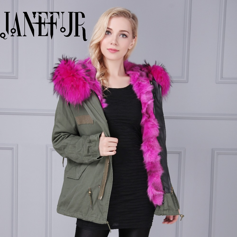 2016 New High Quality Women Hooded Army Green Raccoon Fur Collar Parka Coat Winter Thicken Warm Detachable Cotton Padded Jacket 2016 new mori girl high quality sweep lace fur coat