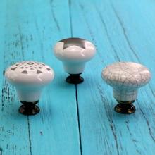 1x Hand Painted Ceramic Knobs Vintage Crack Dresser Closet Kitchen Cupboard Deawer Handle Decor Pulls w/ Screws Dia 33mm