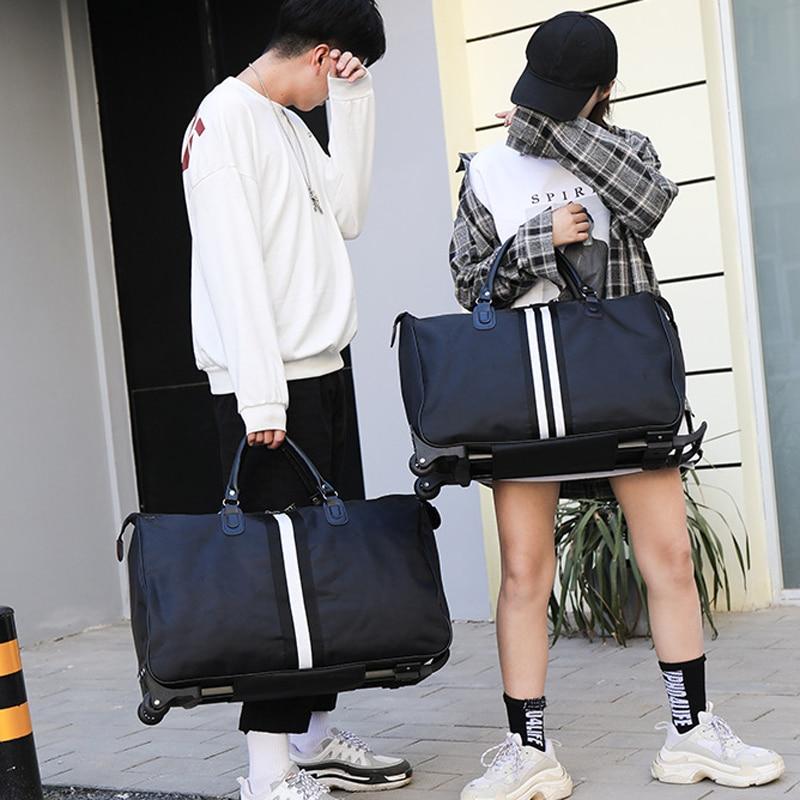 Полосатая сумка для переноски, водонепроницаемая нейлоновая сумка-тролли для путешествий, мужские дорожные сумки, складной чемодан с колесами XA225C