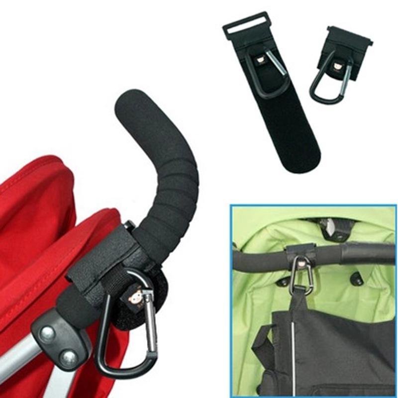 Baby Stroller Buggy Hanger Adjustable Pushchair Pram Trolley Carabiner Clip Buggy Aluminum Hook Stroller Strap Home Storage Hook