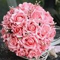 2014 Gorgeous hecho a mano de 23 cm de colores artificiales flores de novia con la cinta / Rose Wedding Bouquets